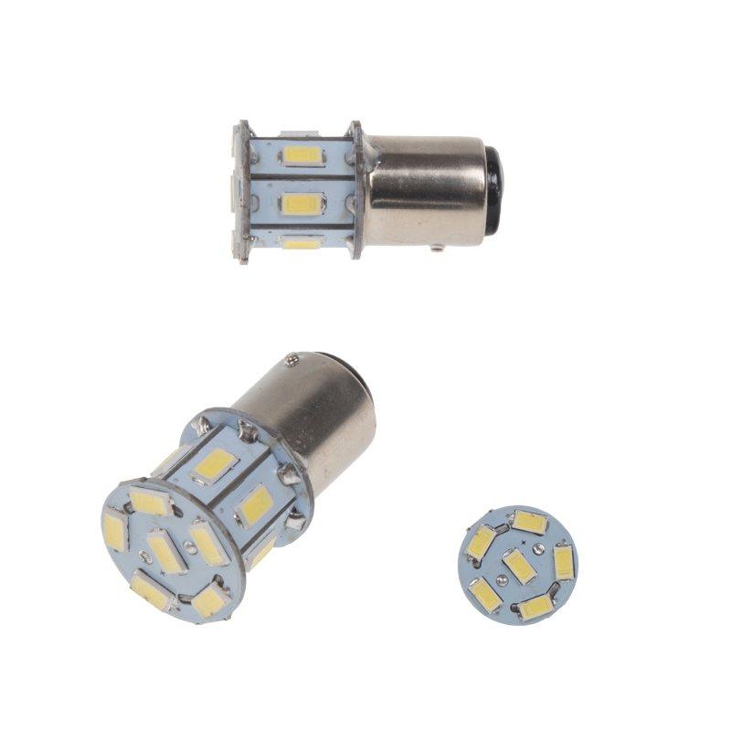 LED BAZ15d (dvouvlákno) bílá, 12V, 13LED/3SMD 2 ks