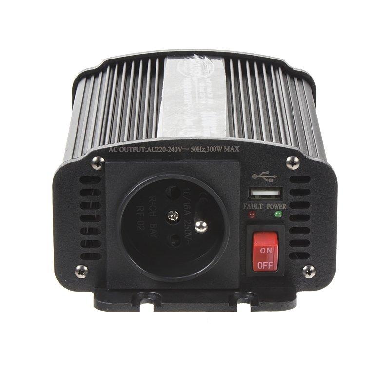 Měnič napětí z 24/230V + USB, 300W 35324