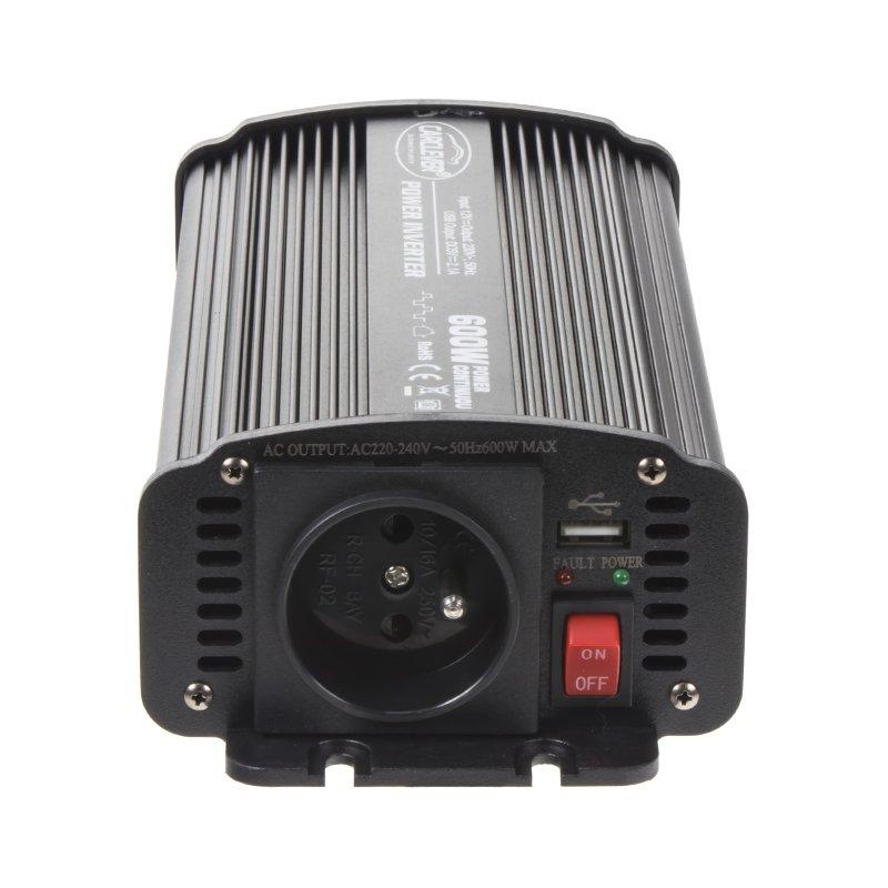 Měnič napětí z 12/230V + USB, 600W 35612