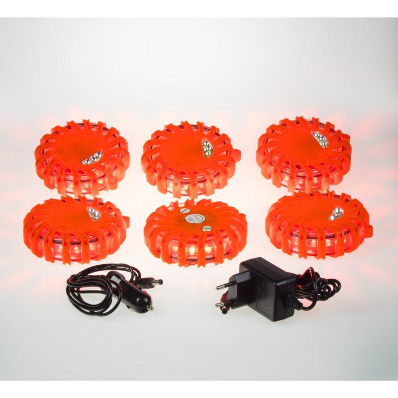 LED výstražné světlo 16LED, červené, set 6ks