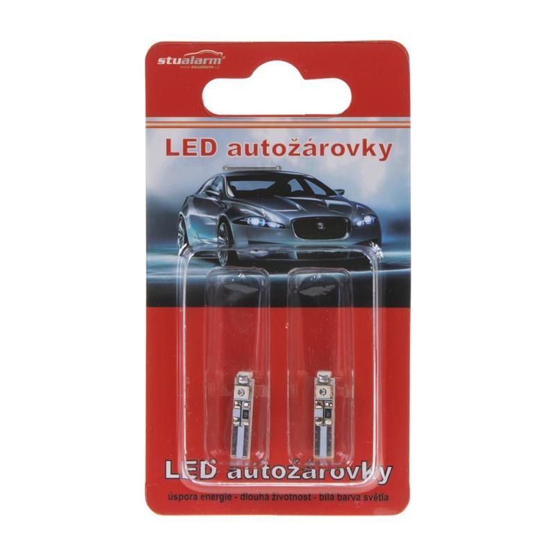 LED T5 červená, 12V, 3LED/SMD 2 ks