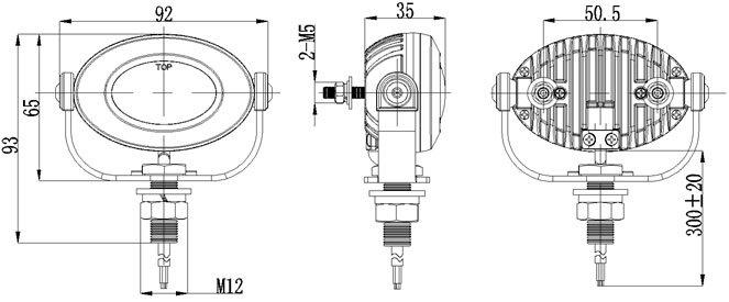 PROFI LED výstražné světlo 12-24V 3x3W červený ECE R10 92x65mm 911-E33R