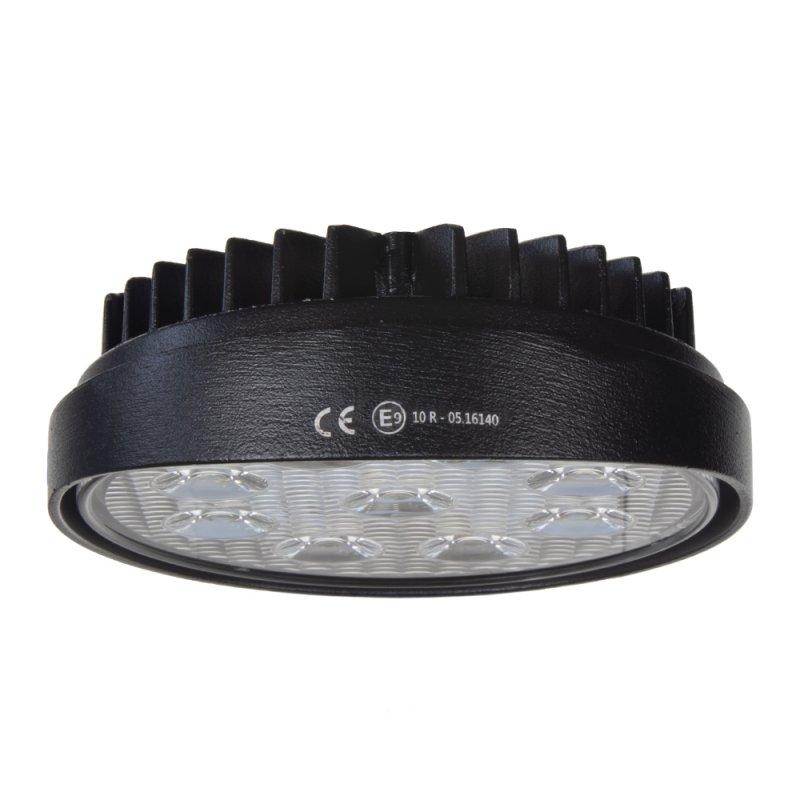 LED světlo na pracovní stroje kulaté 10-30V, 9x3W, R10, rozptýlený paprsek