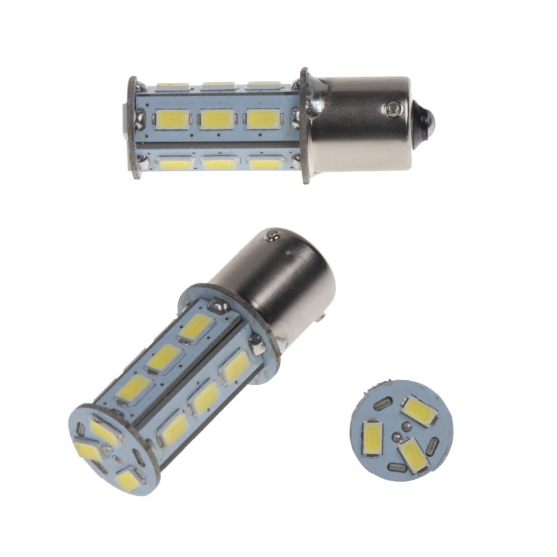 LED BAU15s bílá, 12-24V, 18LED/5730SMD 2 ks