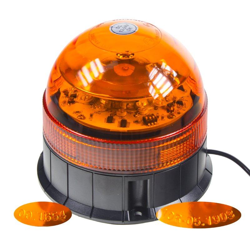 LED maják, 12-24V, 12x3W, oranžový magnet, 140x140 mm, ECE R65