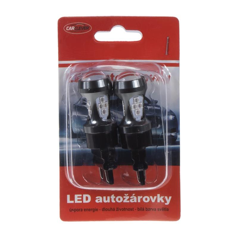LED T20 (3157) červená, 12-24V, 16LED/3030SMD 2 ks