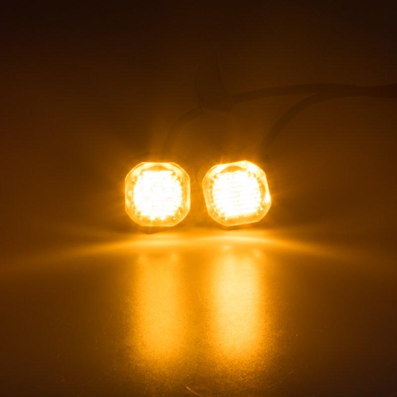 2x PROFI výstražné LED světlo vnější oranžové, zápustné 12-24V, ECE R65