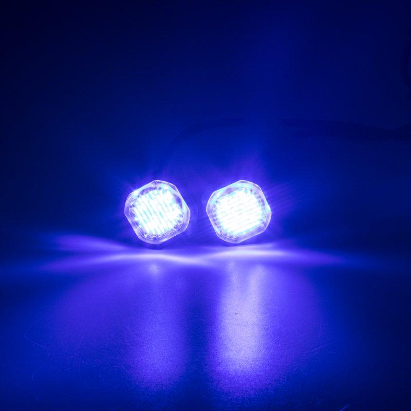 2x PROFI výstražné LED světlo vnější modré, zápustné, 12-24V, ECE R65