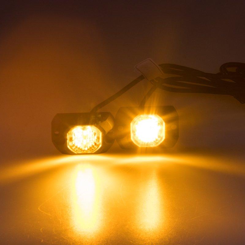 2x PROFI výstražné LED světlo vnější oranžové, povrchová montáž 12-24V, ECE R65