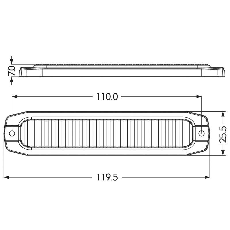 PROFI SLIM výstražné LED světlo vnější oranžové, 12-24V, ECE R65