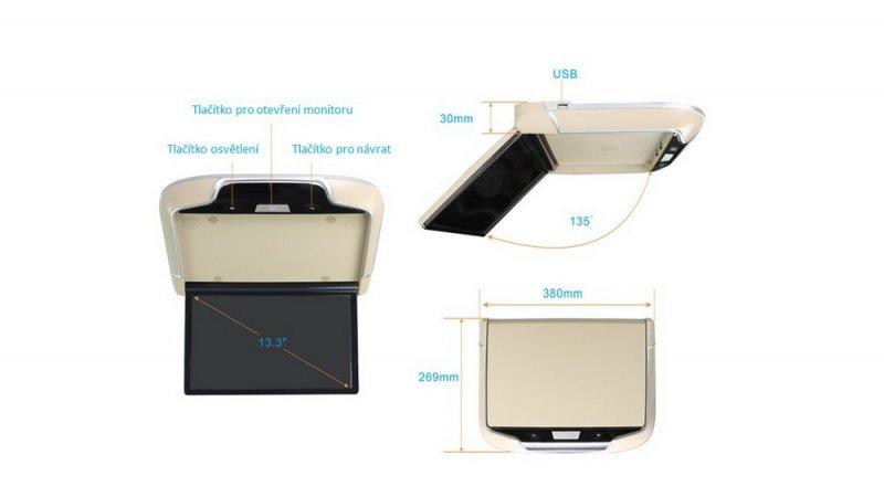 Stropní LCD monitor 13,3 šedý s OS. Android HDMI / USB, dálkové ovládání se snímačem pohybu ds-133Agr NOVINKA