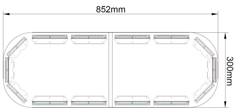 LED rampa 852mm, modro-červená, 9-33V, ECE R65 NOVINKA