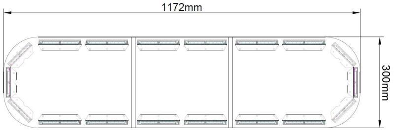 LED rampa 1172 mm, modro-červená, 9-33V, ECE R65 NOVINKA