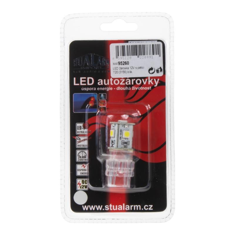 LED T20 (3156) bílá, 12V, 5LED/3SMD 1 ks