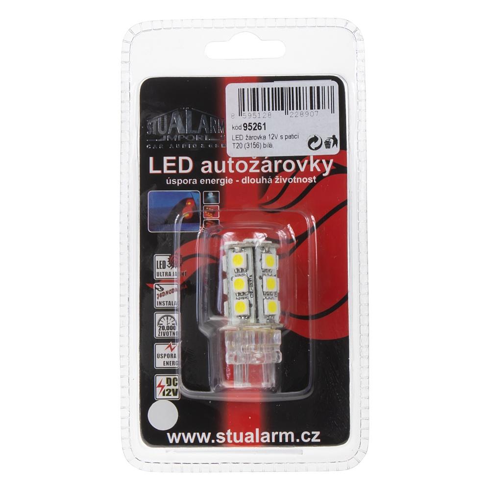 LED T20 (3156) bílá, 12V, 18LED/3SMD 1 ks